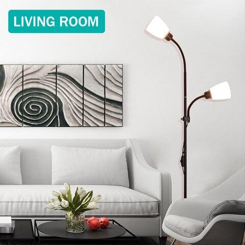 lampada de assoalho moderna 2 luzes suporte