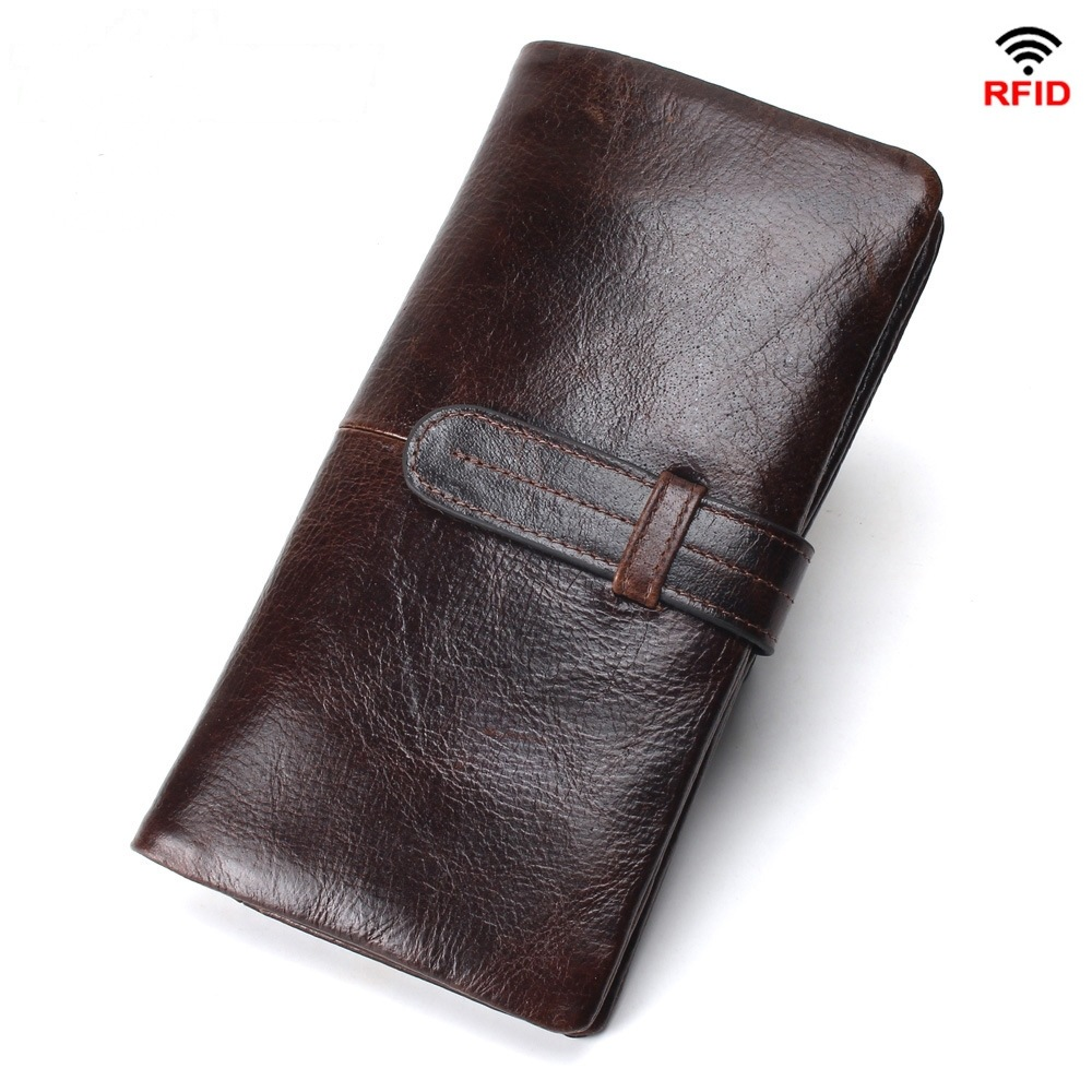 Antimagnetic RFID Wallet Genuine Leather Oil Wax Leather Wallets Men Women Coin Purse Card Case Wallet  High Quality