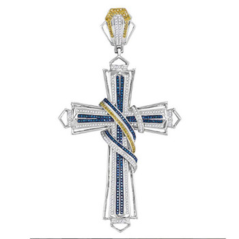 2021 Vintage Silver Color Entwined Mixed Fancy Crystal Cross Necklace For Women Pendant Jewelry Accessories image