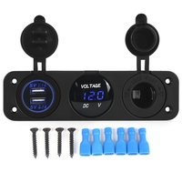 Dual Usb Socket Charger 2.1A + 2.1A 12V Sigarettenaansteker Led Voltmeter 3 In 1 Charger Panel Voor Auto moto Boot Marine Truck