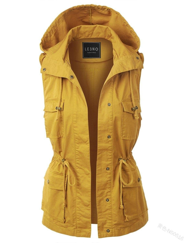 WEPBEL Solid Color Vest Women Autumn Winter Hooded Sleeveless Pocket Zipper Button Warm Ladies Female Vests