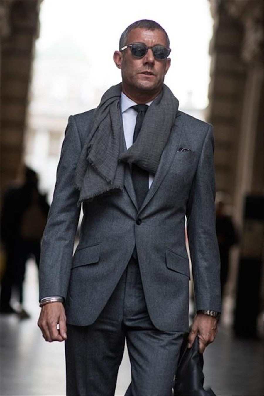 Fashion Dark Gray Wedding Tuxedos Slim Fit Suits For Men Custom Made One Button Groom Suit Two Pieces (Jacket+Pant)