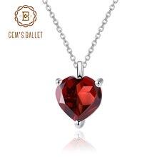 GEMS BALLET 1.47 CT Natural Garnet Women Fine Jewelry 925 Sterling Silver Elegant Heart Pendant Necklace