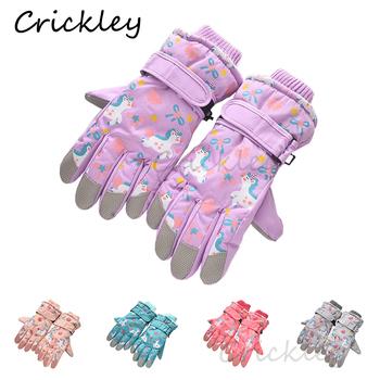 Zimowe jednorożce dziewczęce chłopięce rękawiczki pluszowe narciarstwo dziecięce rękawiczki ciepłe antypoślizgowa wodoodporna dziecięca rękawiczki z pełnym palcem 6-10 lat tanie i dobre opinie Crickley CN (pochodzenie) COTTON Poliester Polyester Cartoon Unisex YMZZ003 24*10cm