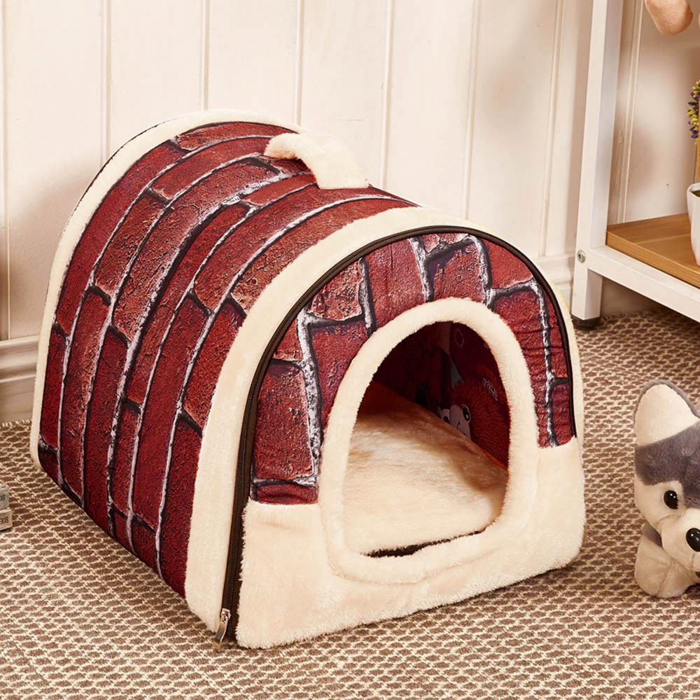 hot sale Pet Dog <font><b>Cat</b></font> <font><b>Bed</b></font> <font><b>House</b></font> Warm Soft Mat Bedding Igloo Basket Kennel Washable Snug 2020 new arrival image