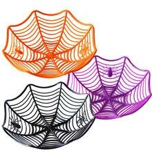 Halloween czarny pająk Web miska talerz na owoce cukierki biszkopt pakiet kosz miska cukierek lub psikus wystrój na zaopatrzenie na przyjęcie halloweenowe