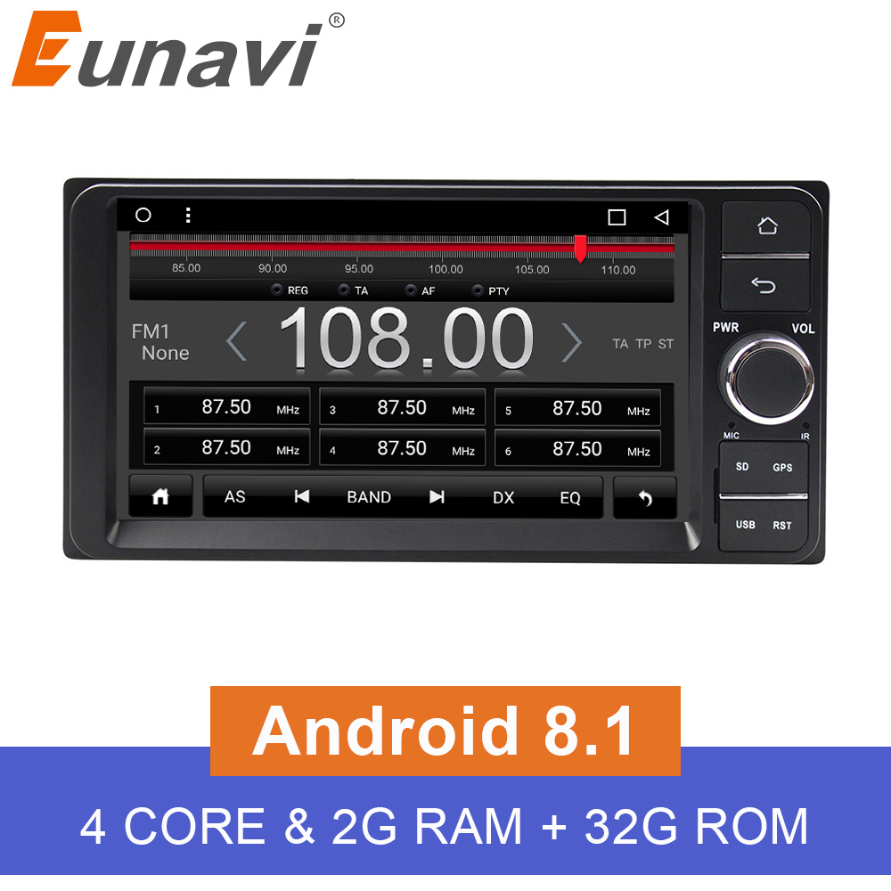 Eunavi Quad core 2 din Android 8 1 2G RAM car dvd player for Toyota Hilux