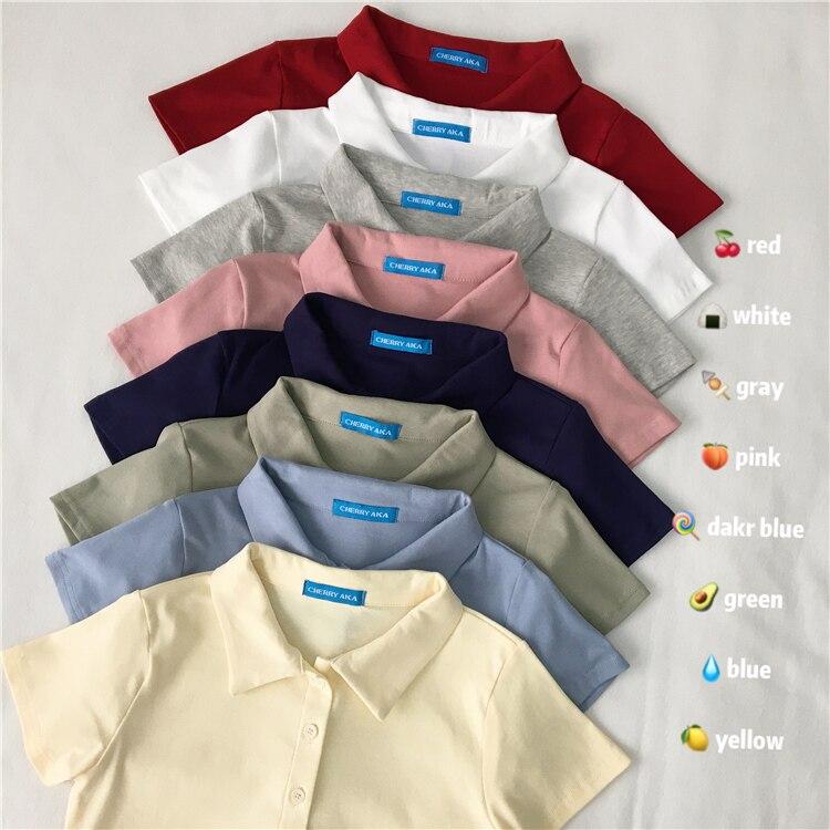 Polo Shirt Short Sleeve 2020 New T-shirt Women's Summer Korean Slim Wild Pure Color Basic Female Cute Short Navel Top Tide