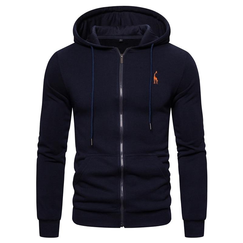 2019 New Autumn Winter Cotton Hoodied Mens Sweatshirts Solid Hoody Fleece Thick Hoodies Men Sportswear Zipper Sweatshirts Men 12