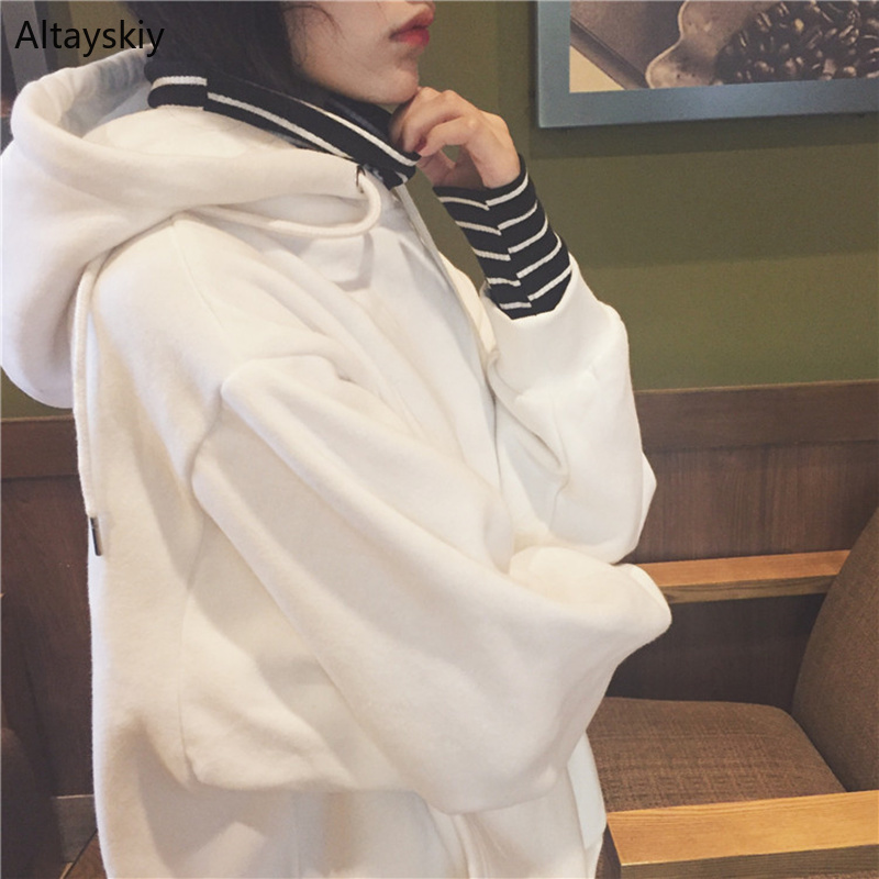 Hoodies Women Hooded Simple All-match Turtleneck Warm Pockets Leisure Sweatshirts Womens Trend Soft Pullovers Chic Kawaii Cute