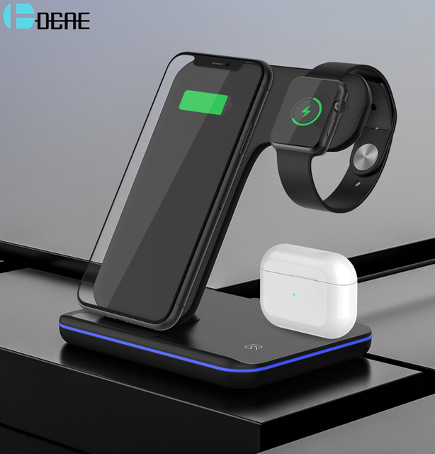 Qi 15W Wireless Charger Stand 3 in 1 Fast Charging Dock Station for AirPods Pro Apple Watch 5 iWatch iPhone 11 XS XR X 8 Samsung