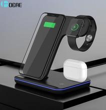 Supporto per caricabatterie Wireless Qi 15W 3 in 1 Dock Station di ricarica rapida per AirPods Pro Apple Watch 6 5 4 iWatch iPhone 12 11 XS XR X 8