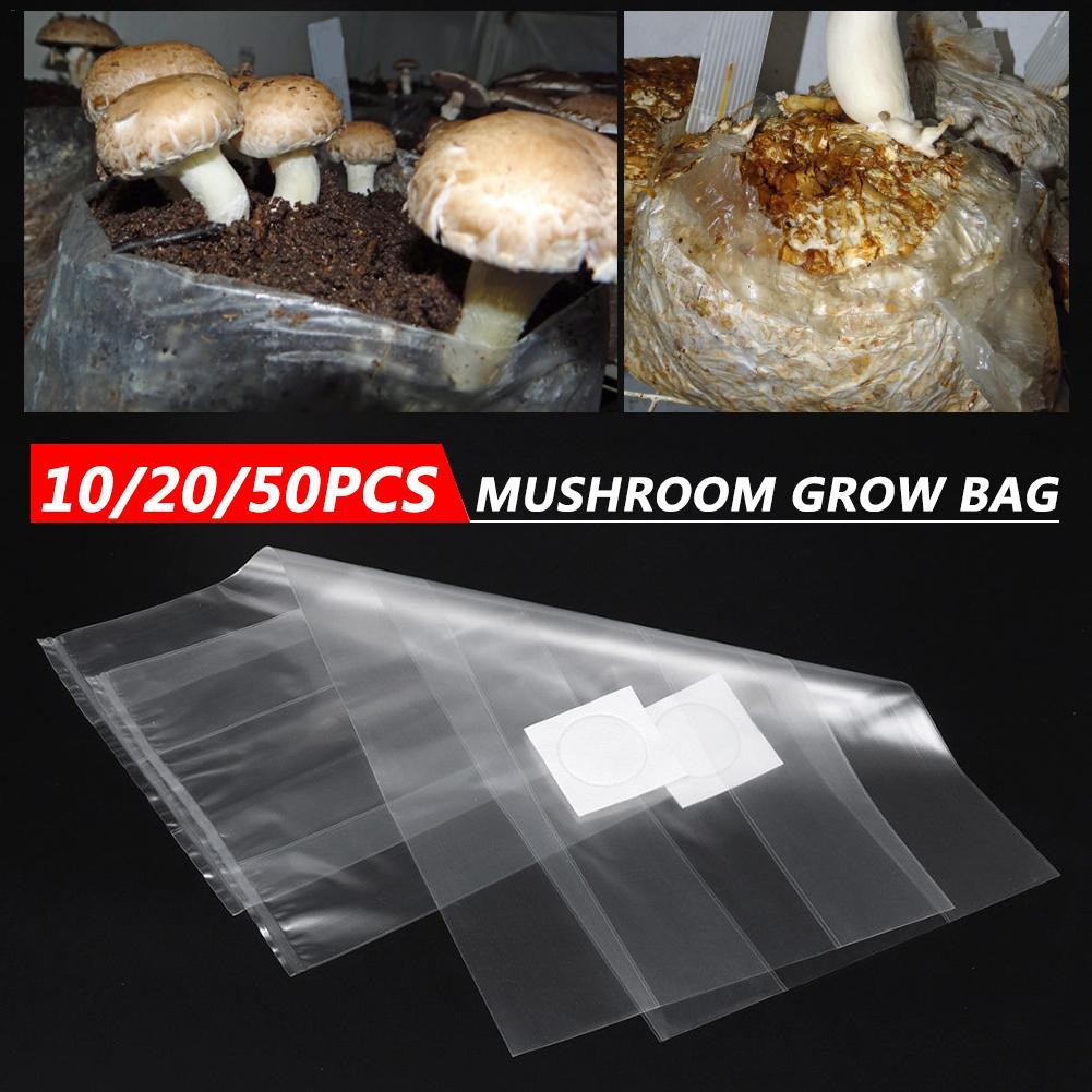10/20/50PCS Mushroom Strain Growing Bag Edible Fungus Cultivation Bag Horticultural Planting Transparent Bag Gardening Tools
