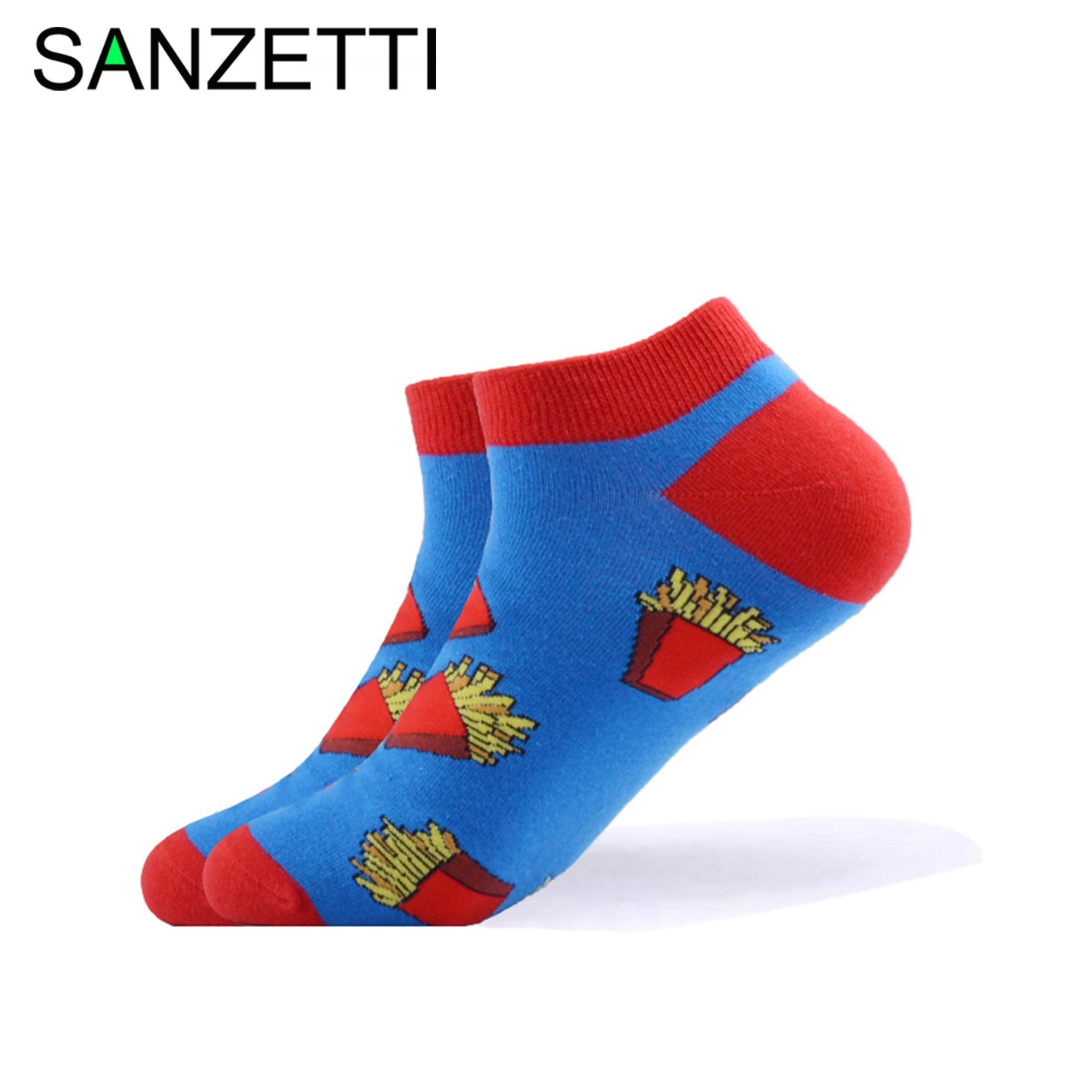 SANZETTI 1 Pair 2020 New Men's Summer Casual Ankle Socks Colorful Combed Cotton Socks Hamburger Pattern Dress Wedding Boat Socks