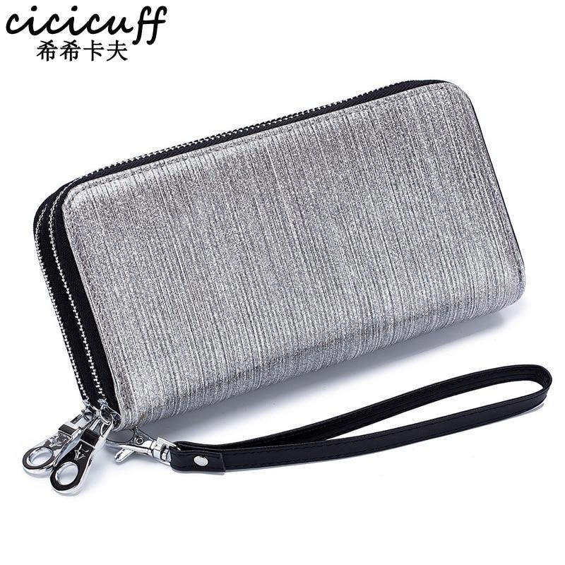 CICICUFF 2019 New Purse Patent Leather Wallet Women Long Zipper Fashion Glisten Clutch Phone Bag Female