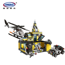 XINGBAO 10006 City Police Series Stop The Assault Institute Set Model Building Blocks Bricks Helicopter Car
