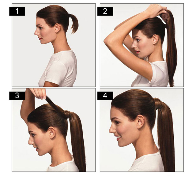 Ponytail Human Hair Machine Remy Straight European Ponytail Hairstyles 60g 100% Natural Hair Clip in Extensions by BHF 6