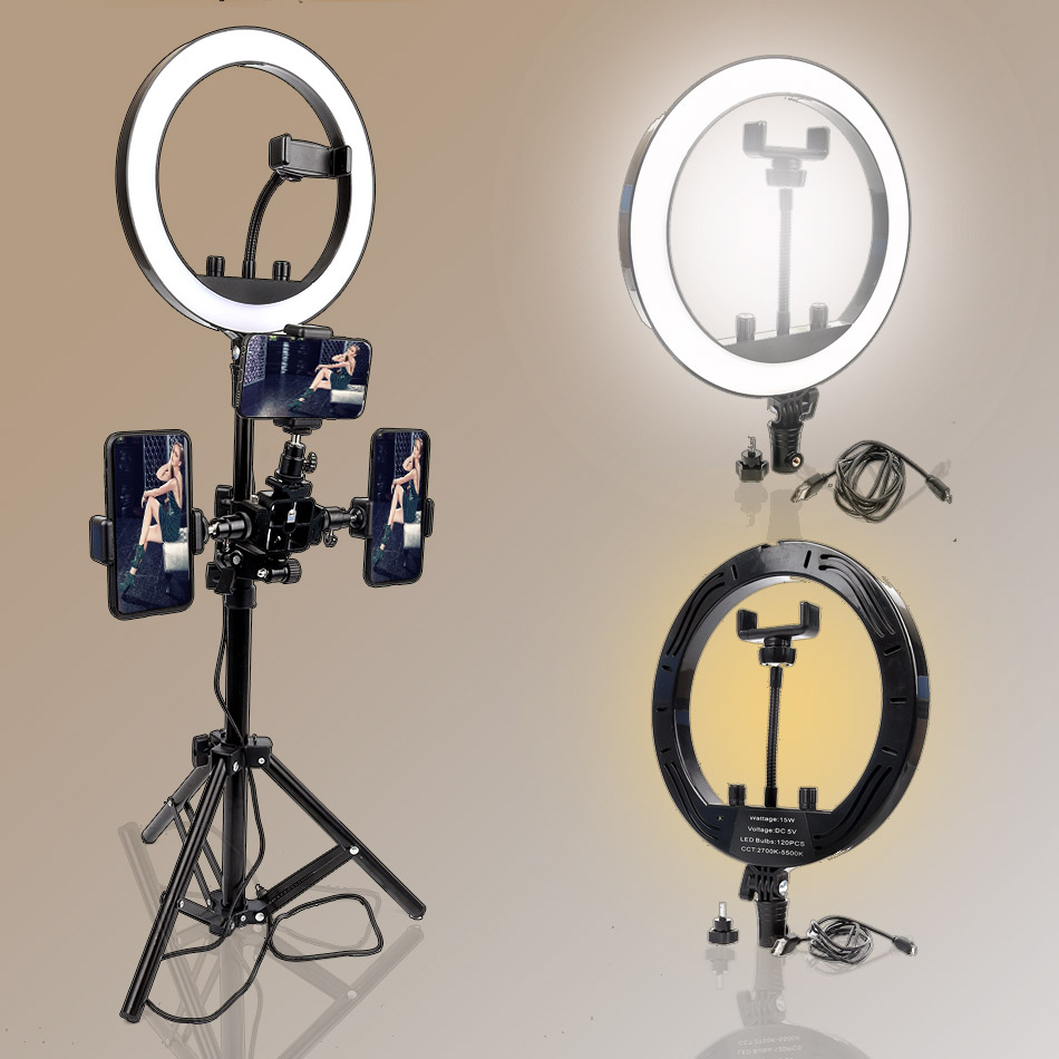10 Dimmable Ring Light for YouTube Video Tutorial Selfie Portrait/Live Streaming/Artist/Photographer Makeup 110cm/160CM Tripod image