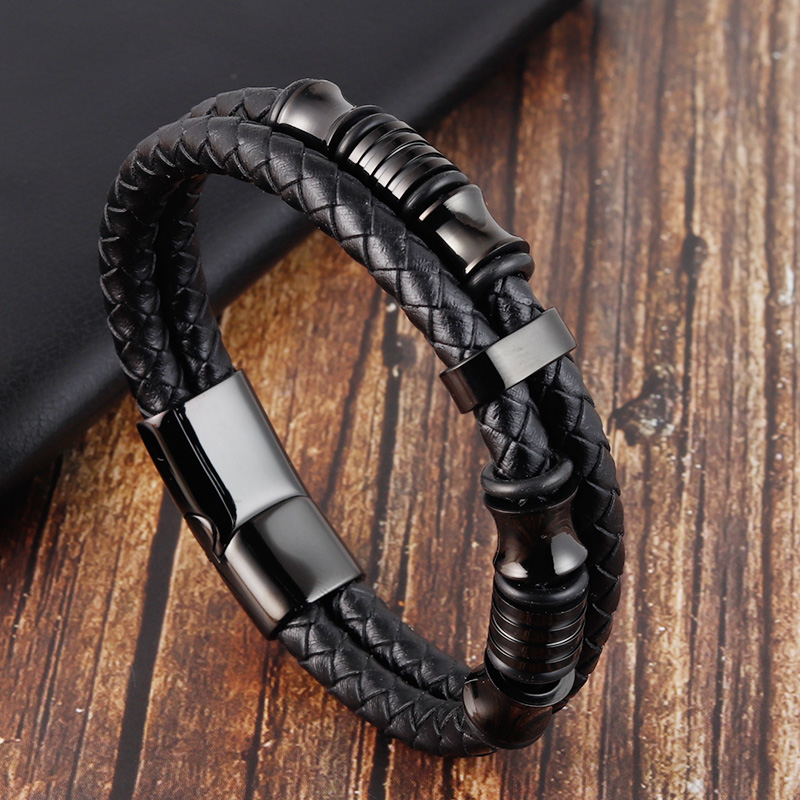 Accessories Bracelet Men's Fashion Gift Black Genuine Leather Bracelets DIY Combination Wild Handsome Gift