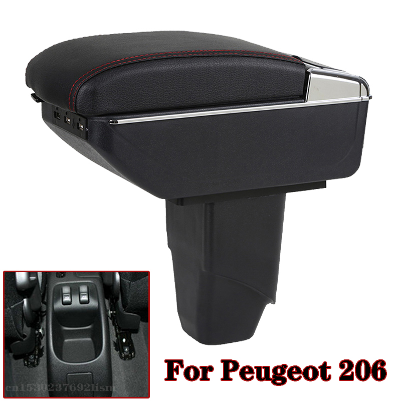 Car <font><b>Armrest</b></font> for <font><b>Peugeot</b></font> <font><b>206</b></font> <font><b>206</b></font>+ 207 Compact 2009-2012 Centre Arm Rest PU Leather Center Console Storage Box Tray Cup Holder image