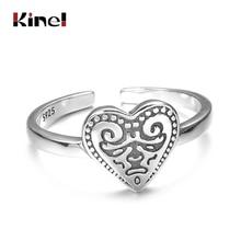 Kinel 925 Silver Ring Adjustable Vintage Punk Heart Ring Women Jewelry Original Pattern Design 925 Sterling Silver bague bijoux sweet rhinestoned letter s pattern design triangle ring for women