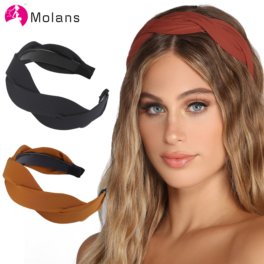 Molans Serpentine Cross Solid Headbands Toothed Comb Anti-slip Plastic New Women Braided Hairbands 5 Cm Wide-brimmed Hair Hoops