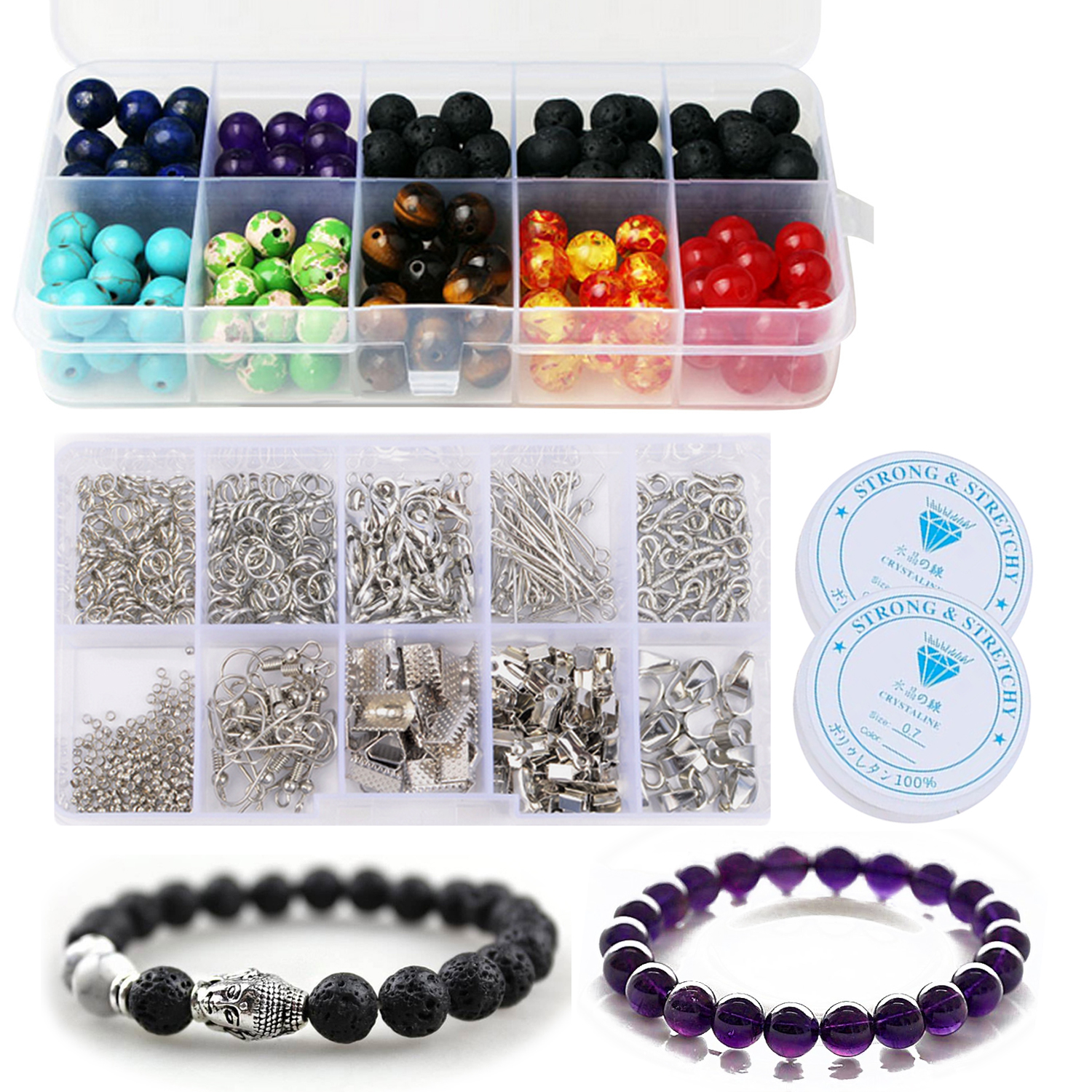 640Pcs DIY Craft Making Finding Tools Kit With 200Pcs 8mm Lava Chakra Beads 2 Roll Crystal String Toys Bracelet Handmake Gifts
