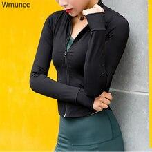 Wmuncc куртка для бега Женская с длинным рукавом на молнии рубашка