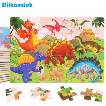 New 30 Pieces Wooden Toy Jigsaw Puzzle Wood Cartoon Animal Vehicle Kid Early Learning Baby Educational Toys for Children Puzzles