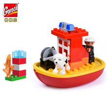 Legoingly 19pcs Big Size Building Blocks City Fire Boat Large Bricks Educational Toys For Children Compatible Duplo Baby Gifts недорого
