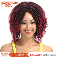 FASHION IDOL Soft Short Synthetic Wigs For Black Women 14 inch High Temperature Fiber Dreadlock Ombre Burg Crochet Twist Hair