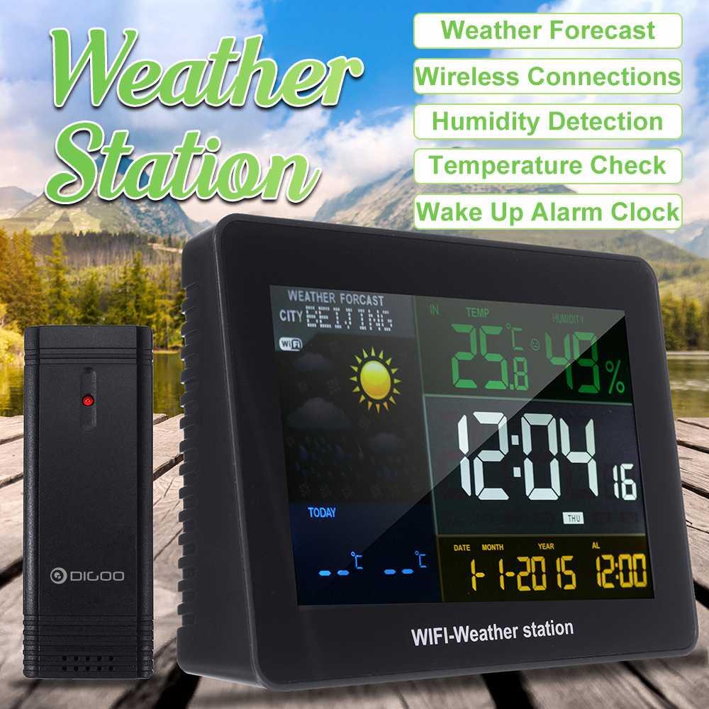 WIFI беспроводная погодная станция с наружным дистанционным датчиком повтора будильник температура, влажность, барометр Alam Часы