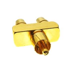 Image 5 - 1 pçs 1 rca a 2 rca cobre banhado a ouro av áudio vídeo divisor adaptador de tomada 1 macho a 2 conector conversor fêmea
