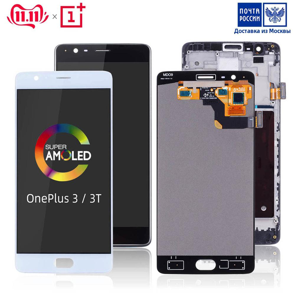 AMOLED Original Display For Oneplus 3T Display LCD Touch Screen with Frame Replacement For Oneplus 3 Innrech Market.com