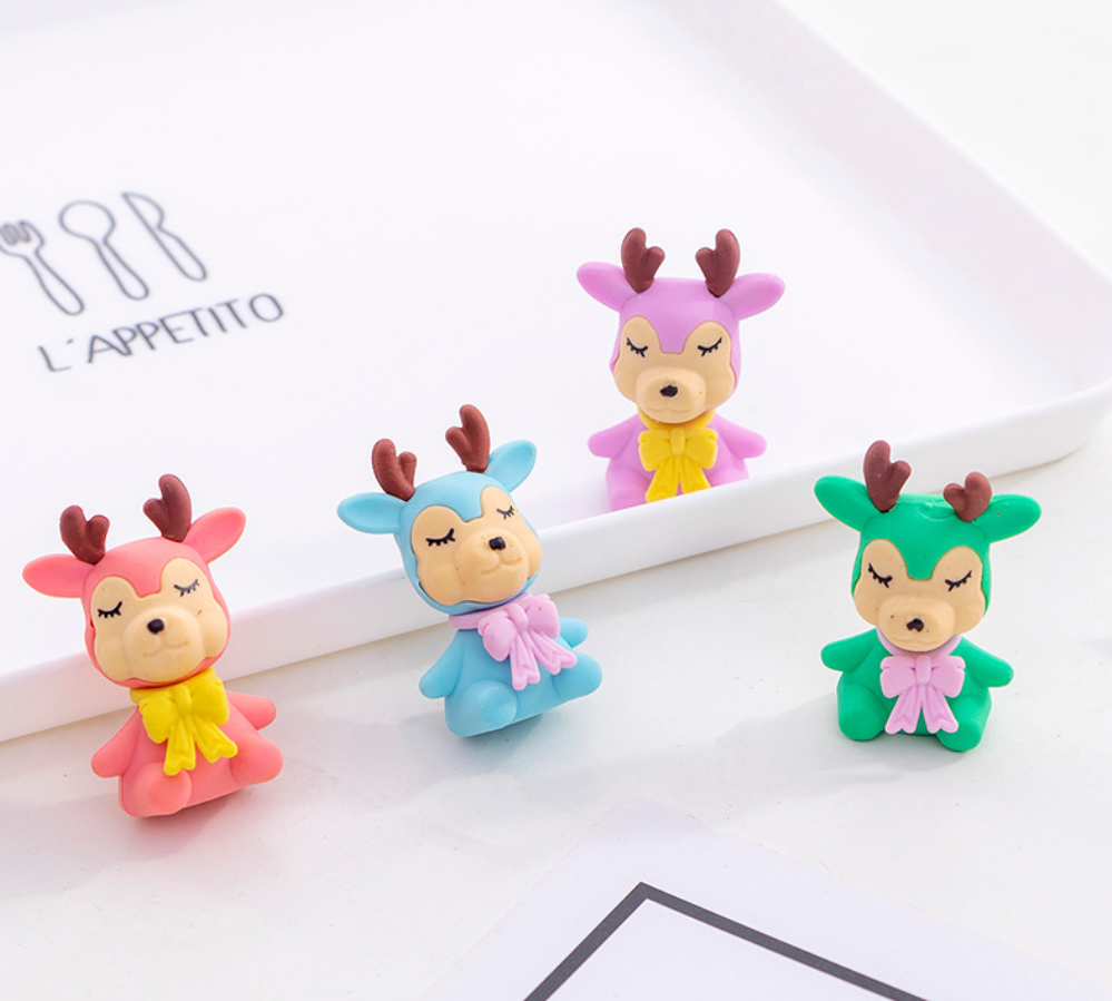 2pcs Little Deer Cute Rubber Pencil Eraser Stationary School Supplies Items Kawaii Office Cartoon Kids Gift Students Prizes