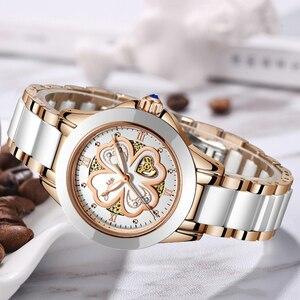 Image 5 - Часы наручные SUNKTA женские кварцевые, модные водонепроницаемые с керамическим браслетом