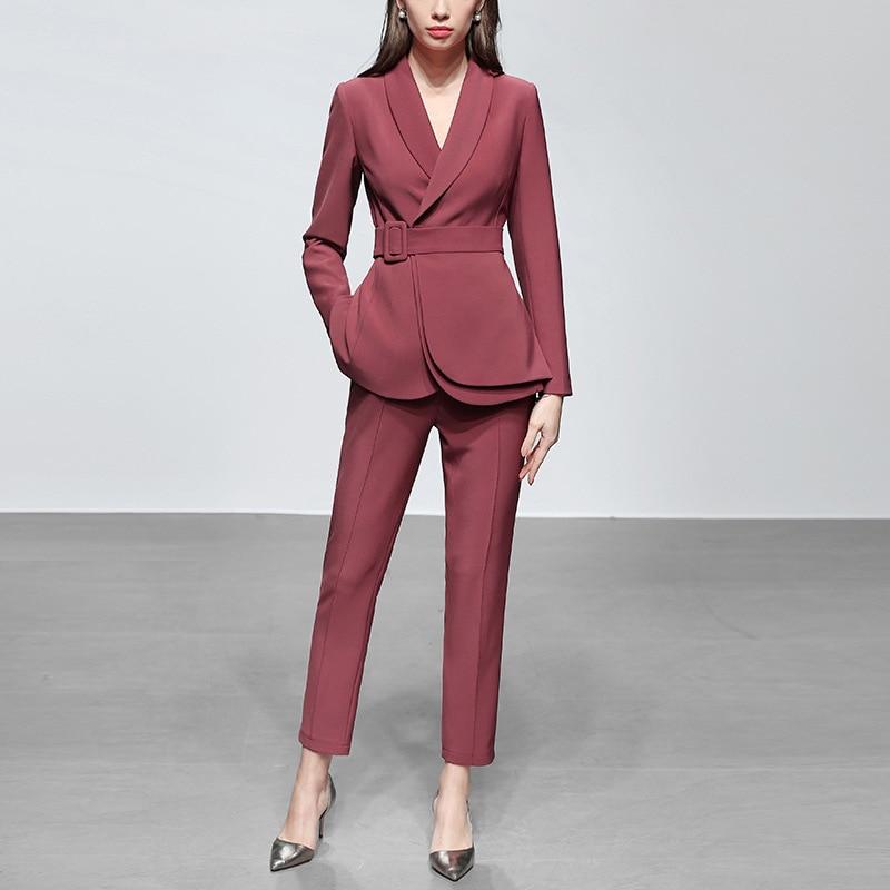 New Fashion Slim Business Wear Elegant Women Office OL Jacket Set Formal Blazer + Pants Suit Feminino Female With Belt