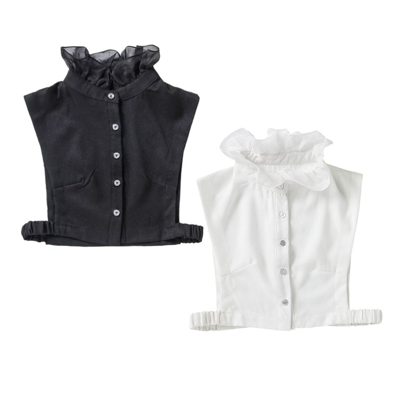 Sweet Ruffles Fake Stand Collar Female High Neck Chiffon Detachable Half Shirt