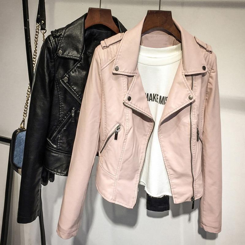 Women Plus Size   leather   jacket 2019 fashion pink   leather   coat ladies short spring autumn pu locomotive of the lapel short coat