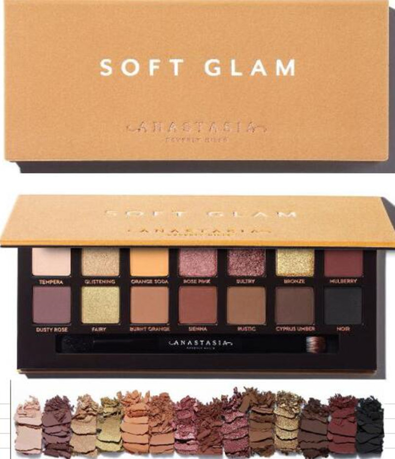 Fast Shipping Anastasia Makeup Palette Soft Glam 14 Colors Nude Eyeshadow Palette Eye Shadow Powder Long Lasting Waterproof