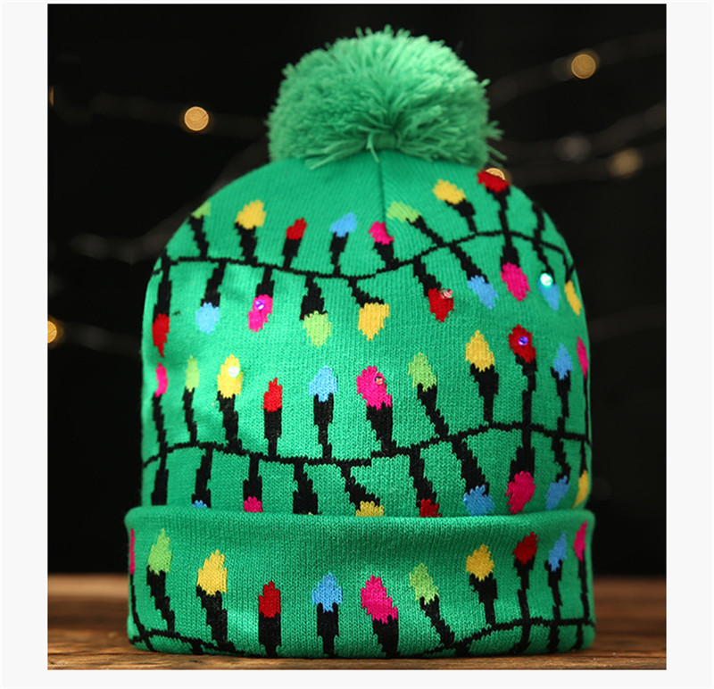 H47dc307ff2174628b0ec2c660b2843567 - LED Light Christmas Hats Beanie Sweater knitted Christmas Santa Hat Light Up Knitted Hat for Kid Adult For Christmas Party