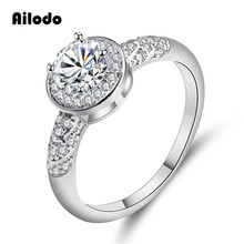 Ailodo Romantic Round CZ Engagement Wedding Rings For Women Fashion Silver Color Female Girls Valentines Gift LD287