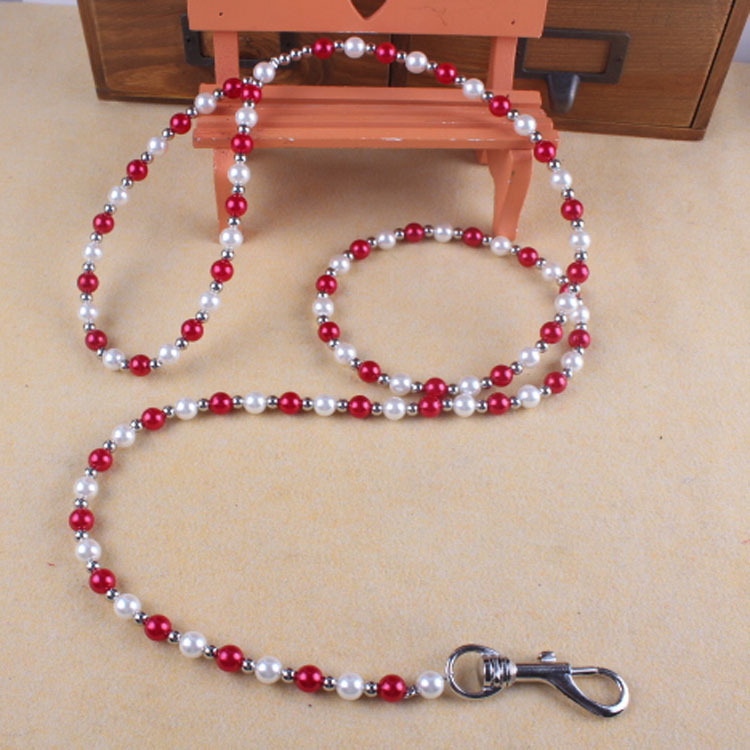 Pet Traction Rope Dogs And Cats Traction Belt Pearl Dog Rope Steel Wire Plastic Beads System Dog Chain