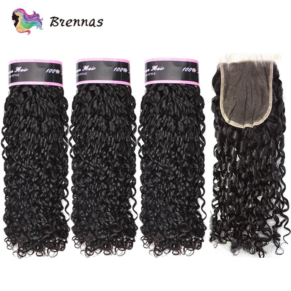 Double Drawn Funmi Hair Bundles With Closure Pixie Curl Human Hair Weave Brazilian Non Remy Hair 4x4 Lace Closure Natural Color