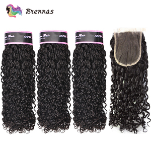 Image 1 - Double Drawn Funmi hair bundles with closure pixie curl human hair weave Brazilian non Remy hair 4x4 lace closure natural color