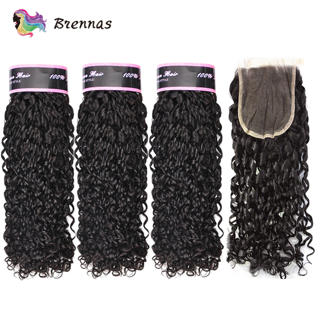 Double Drawn Funmi hair bundles with closure pixie curl human hair weave Brazilian non Remy hair 4x4 lace closure natural color