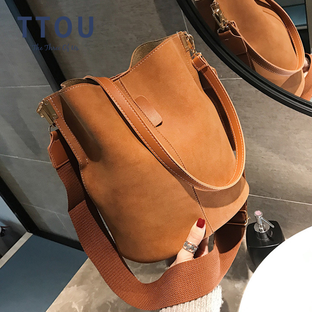 Vintage Casual Bucket Bags for Women Shoulder Bag Solid pattern Quality Pu Leather Messenger Bag Big Tote Popular Style 2020