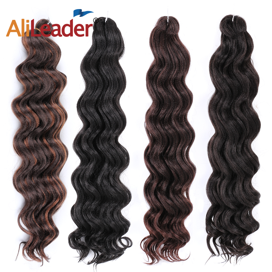Leeons 20Inch Freetress Water Wave Canecalon Hair Crochet Hair Extensions Water Wave Synthetic Hair Bundles Ombre Braiding Hair