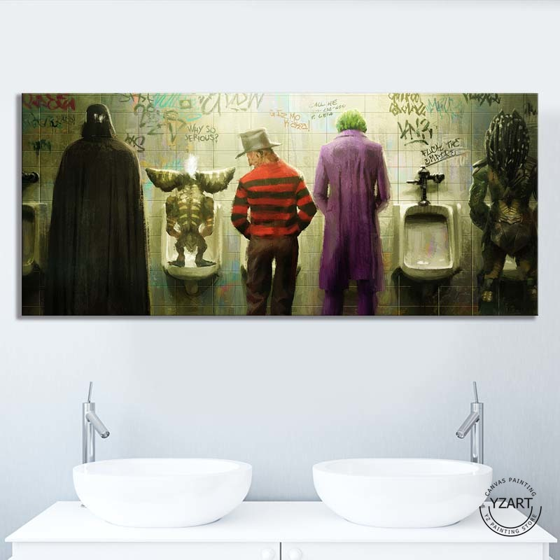 1pcs Funny Joker Freddy Cartoon Rebel Characters Urination Picture HD Wall Picture Canvas Painting for Toilet Wall Decor 1