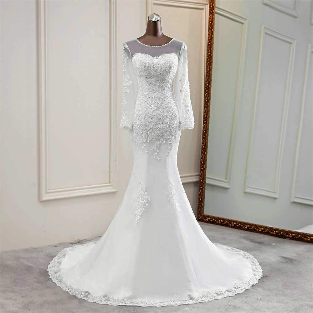 2020 New Style Wedding Dress Long Sleeve Bride Dress Transparent Wedding Gowns Mermaid Vestido De Noiva Lace Long Tulle Marriage
